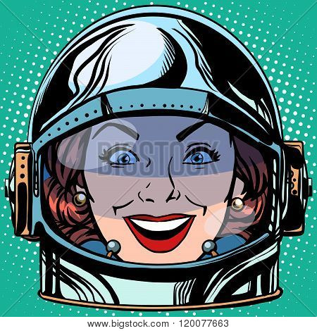 emoticon joy smile Emoji face woman astronaut retro