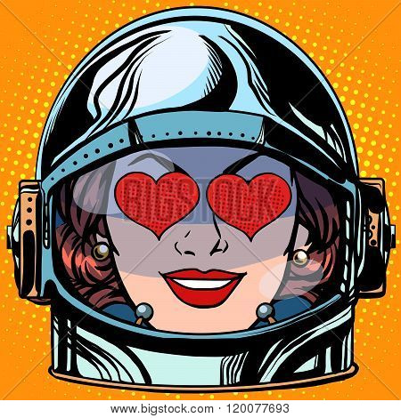emoticon love Emoji face woman astronaut retro