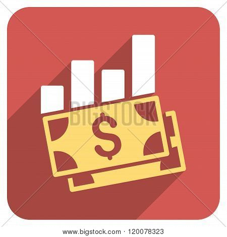 Sales Bar Chart Flat Rounded Square Icon with Long Shadow