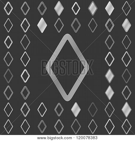 Silver line rhombus icon design set