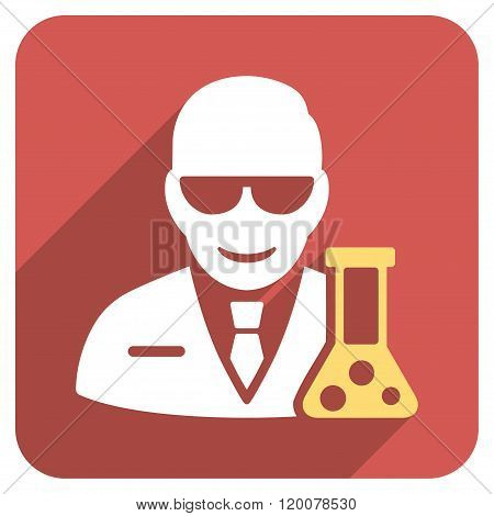 Scientist With Retort Flat Rounded Square Icon with Long Shadow