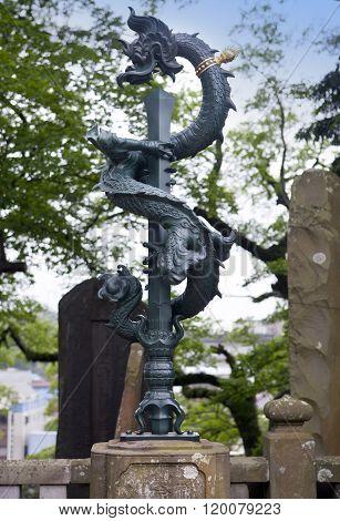 japanese dragon statue in a Shinsho Temple Narita Japan