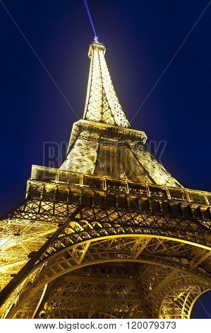 PARIS - MARCH 17: Eiffel Tower illuminated in March 17 2012 in Paris France.