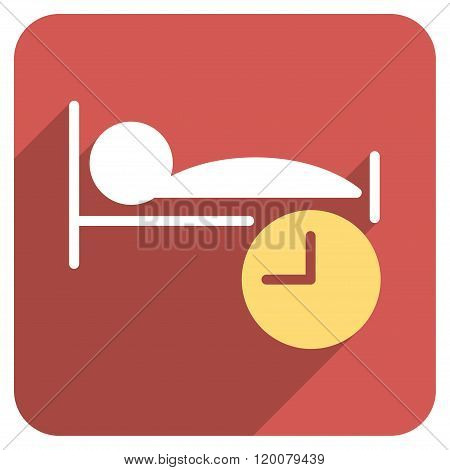 Sleep Time Flat Rounded Square Icon with Long Shadow