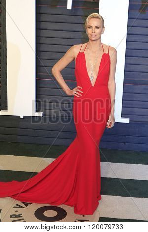 BEVERLY HILLS - FEB 28: Charlize Theron at the 2016 Vanity Fair Oscar Party on February 28, 2016 in Beverly Hills, California