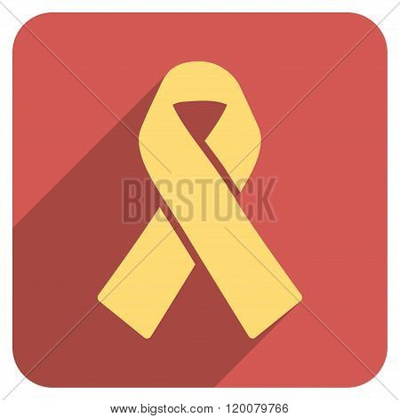 Solidarity Ribbon Flat Rounded Square Icon with Long Shadow