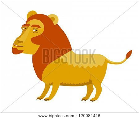 A vector illustration of the lion with a red mane A part of Dodo collection - a set of educational cards for children.