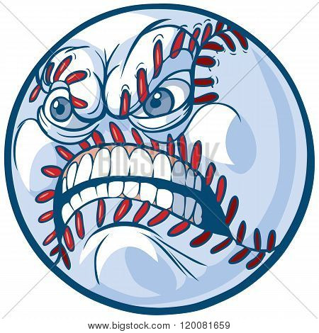 Baseball With Angry Face Vector Cartoon Illustration