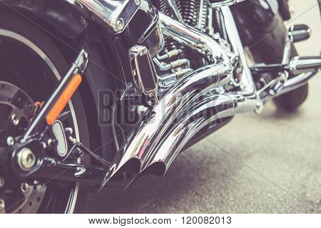Vintage Close Up Of Motorcycle Exhaust, Noise