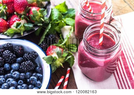 Well Being And Weight Loss Concept, Berry Smoothie.