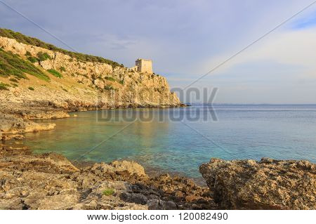 SALENTO. Bay Porto Selvaggio:in the background Dell'Alto watchtower.ITALY (Puglia).