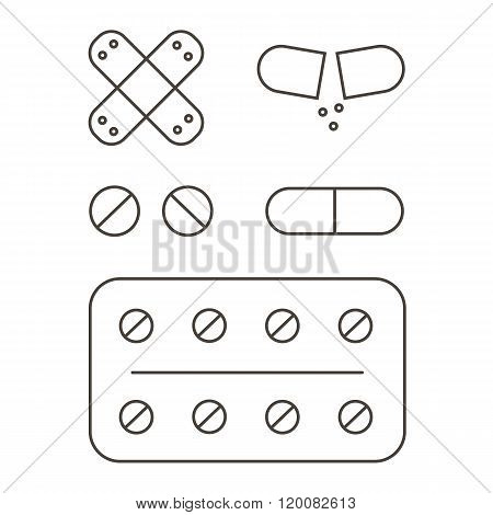 Pills and medicines outline icons set isolated on white background.