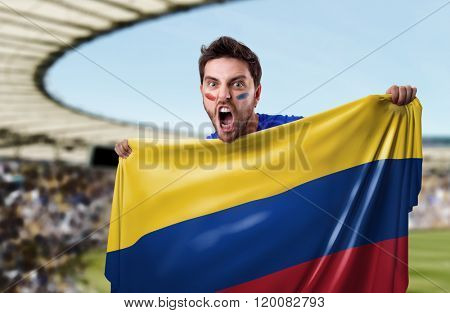 Fan holding the flag of Colombia in the stadium
