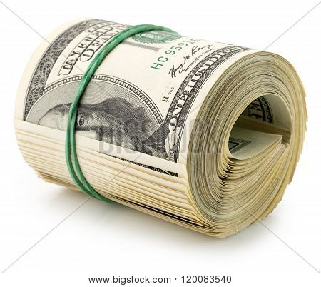 money roll dollars isolated on the white background.