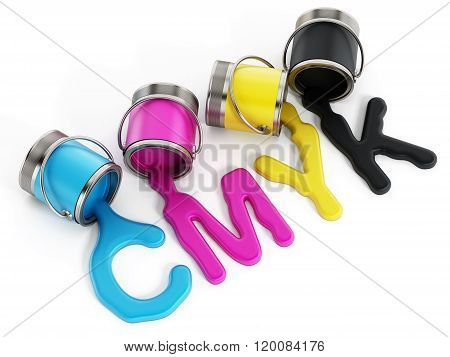 CMYK buckets with cyan magenta yellow and black inks