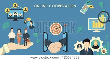 Horizontal banner of online cooperation decorative elements flat vector illustration