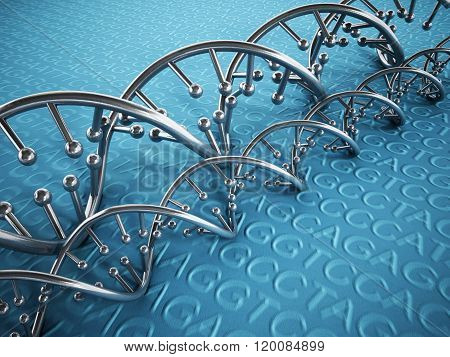 DNA strands background with blue color tones.