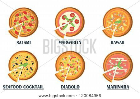Pizza flat icons isolated on white background.