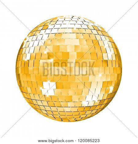 golden disco mirror ball 3d image