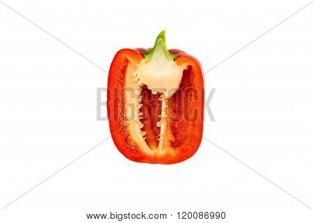 Sweet red pepper. Fresh paprika isolated on white