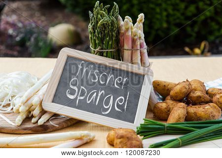 Asparagus With Blackboard And German Words