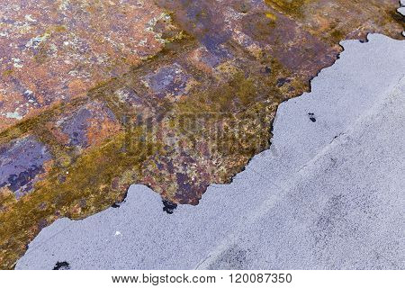 Multicolored Old Half Rusted Metal Plate Background