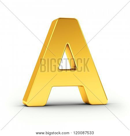 The Letter A as a polished golden object over white background with clipping path for quick and accurate isolation.