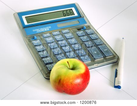Calculator With Pen And Apple