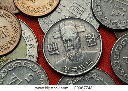 Coins of South Korea. Korean naval commander Yi Sun-sin depicted in the South Korean 100 won coin.
