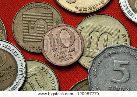 Coins of Israel. Israeli 10 new agorot coin.