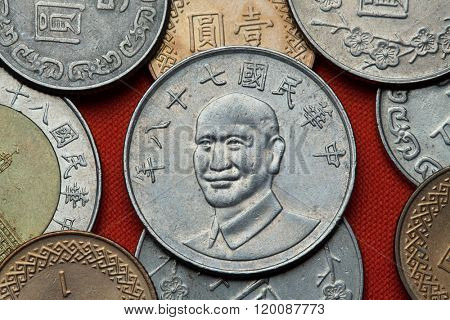 Coins of Taiwan. Taiwan president Chiang Kai-shek depicted in the Taiwan 10 dollars coin.