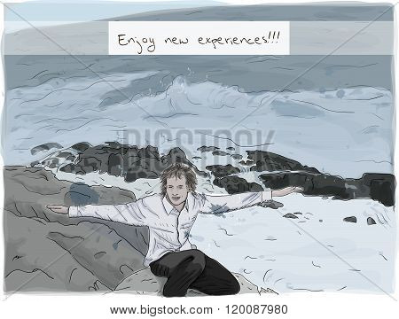 Hand drawing man enjoying nature.