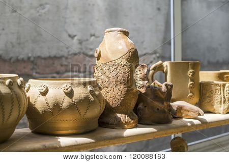 Pottery in the Window