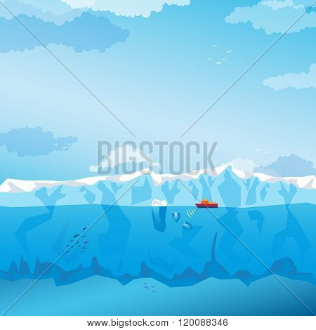 Background with long Iceberg and ship. Vector
