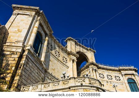 Architectural details of old fortress Bastione San Remy, in Cagliari, Sardinia