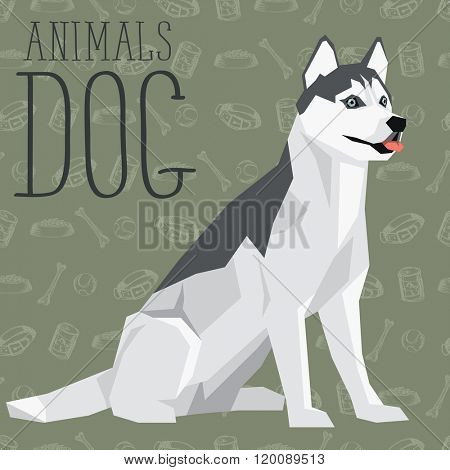 Vector geometric dogs collection with seamless background. Siberian Husky