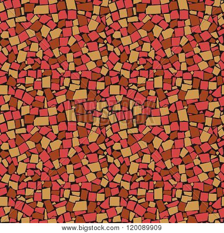 Vector Seamless Texture Of Red, Yellow And Brown Asymmetric Decorative Tiles Wall. Vector Illustrati