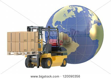 Global logistics shipping and worldwide delivery business concept