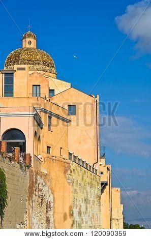 View of city walls and Santa Maria Cathedral at Castello downtown area, Cagliari, Sardinia