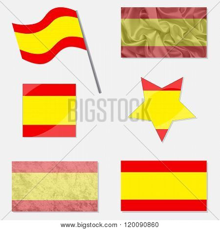 Set Eith Flags Of Spain