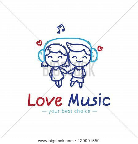 Vector sketch style girl and boy in headphones cartoon characters. Music shop or karaoke bar logo.