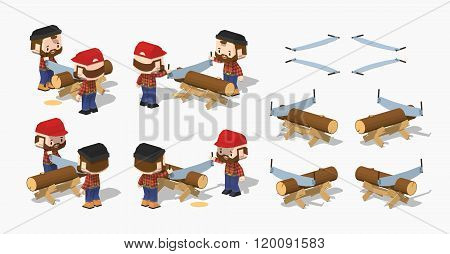 Log sawing on the work bench
