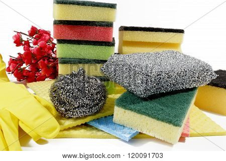 Unused sponges for washing dishes