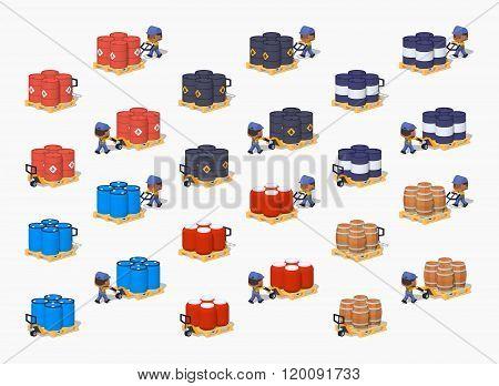 Barrels on the manual pallet trucks
