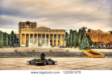 View of Museum Centre and musical fountain in Baku