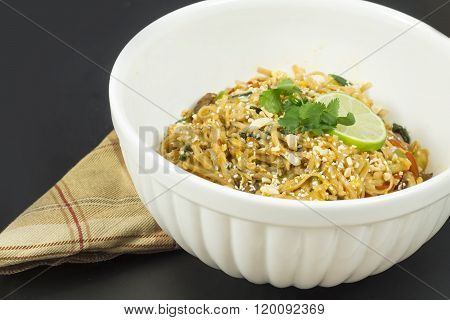 Delicious vegetarian Pad Thai with lime slice