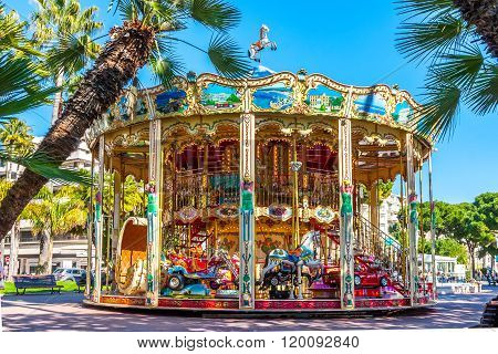 Cannes, France - March 1, 2016: Vintage Carousel.