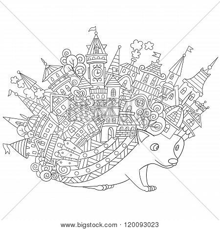 Zentangle Stylized Hedgehog