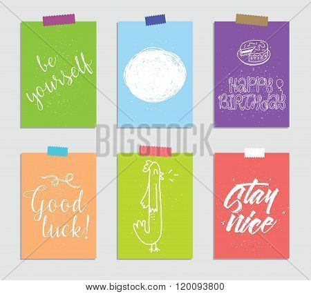Set of creative 6 journaling cards. Vector illustration. Template for greeting scrapbooking, planner