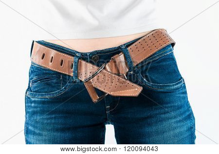 Leather Belt On The Jeans